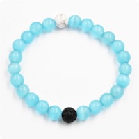 Cats Eye Bracelets, with Lava & Natural White Turquoise, natural, Unisex, 8mm, Length:Approx 7.5 Inch, Sold By Strand