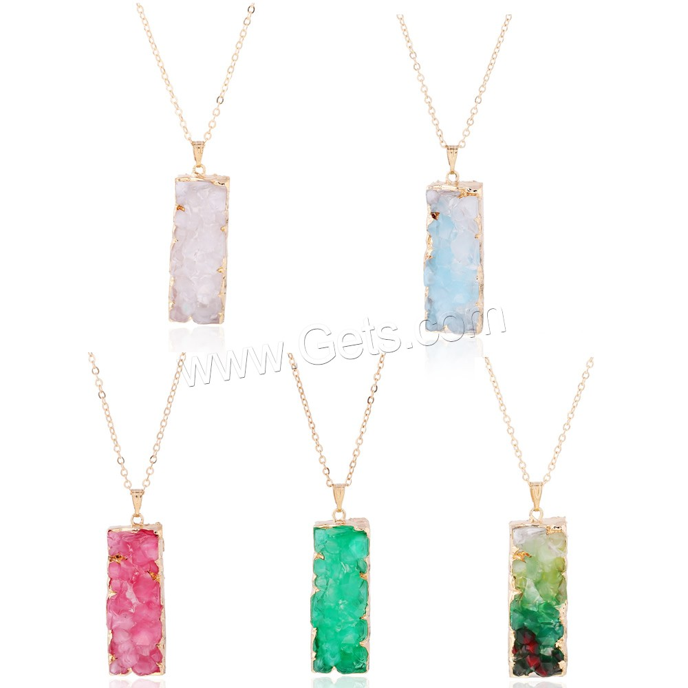 Zinc Alloy Sweater Chain Necklace, with iron chain & Resin, Rectangle, gold color plated, druzy style & oval chain, more colors for choice, lead & cadmium free, 38x15mm, Length:Approx 24 Inch, Sold By Strand