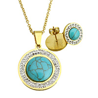 Resin Jewelry Sets, Stainless Steel, earring & necklace, with Rhinestone Clay Pave & Resin, Flat Round, gold color plated, imitation turquoise & oval chain, 25x28x5.5mm, 2.5x2x0.5mm, 15x17mm, Length:Approx 20 Inch, Sold By Set