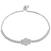 Cubic Zirconia Micro Pave Brass Bracelet, Snowflake, real silver plated, with 925 logo & Christmas jewelry & micro pave cubic zirconia, lead & cadmium free, 18mm, Length:Approx 7.5 Inch, Sold By Strand
