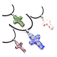 Murano Millefiori Lampwork Necklace, with rubber cord & Brass, Cross, platinum color plated, for woman, more colors for choice, 18x28x4mm, 1.5mm, Length:Approx 18 Inch, 12Strands/Lot, Sold By Lot