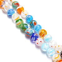 Murano Millefiori Lampwork Beads, Round, 6mm, Hole:Approx 0.7mm, Length:Approx 14.5 Inch, Approx 66PCs/Strand, Sold By Strand