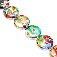 Murano Millefiori Lampwork Beads, Flat Round, 18x18x4.5mm, Hole:Approx 1mm, Length:Approx 15 Inch, Approx 21PCs/Strand, Sold By Strand