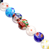 Murano Millefiori Lampwork Beads, Flat Round, 10x10x4mm, Hole:Approx 0.8mm, Length:Approx 15 Inch, Approx 39PCs/Strand, Sold By Strand