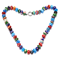 Murano Millefiori Lampwork Necklace, brass spring ring clasp, platinum color plated, for woman, 7x10x10mm, 16x14x2mm, Length:Approx 18 Inch, Sold By Strand