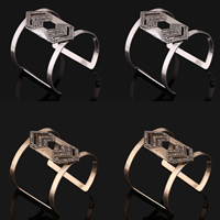 Iron Cuff Bangle, plated, with rhinestone, more colors for choice, lead & cadmium free, 60mm, Inner Diameter:Approx 60mm, Length:Approx 7 Inch, Sold By PC