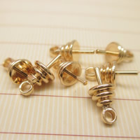 Brass Peg Bail, 24K gold plated, lead & cadmium free, 9x5mm, Hole:Approx 1-2mm, Inner Diameter:Approx 1mm, Sold By PC
