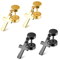 Stainless Steel Ear Piercing Jewelry, Cross, plated, Unisex, more colors for choice, 8x13mm, Sold By Pair