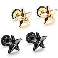 Stainless Steel Ear Piercing Jewelry, with Silicone, Star, plated, with skull pattern & Unisex, more colors for choice, 12x12mm, Sold By Pair