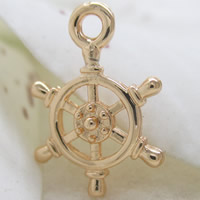 Coconut Pendants, Brass, Ship Wheel, 24K gold plated, lead & cadmium free, 14x10mm, Hole:Approx 1-2mm, Sold By PC