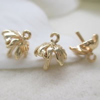 Brass Peg Bail, Flower, 24K gold plated, lead & cadmium free, 9mm, Hole:Approx 1-2mm, Inner Diameter:Approx 0.7mm, Sold By PC