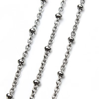 Stainless Steel Oval Chain, original color, 1.5mm, 5m/Bag, Sold By Bag