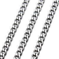 Stainless Steel Curb Chain, different size for choice, original color, 5m/Bag, Sold By Bag