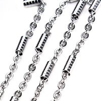 Stainless Steel Oval Chain, original color, 3x4mm, 2m/Bag, Sold By Bag