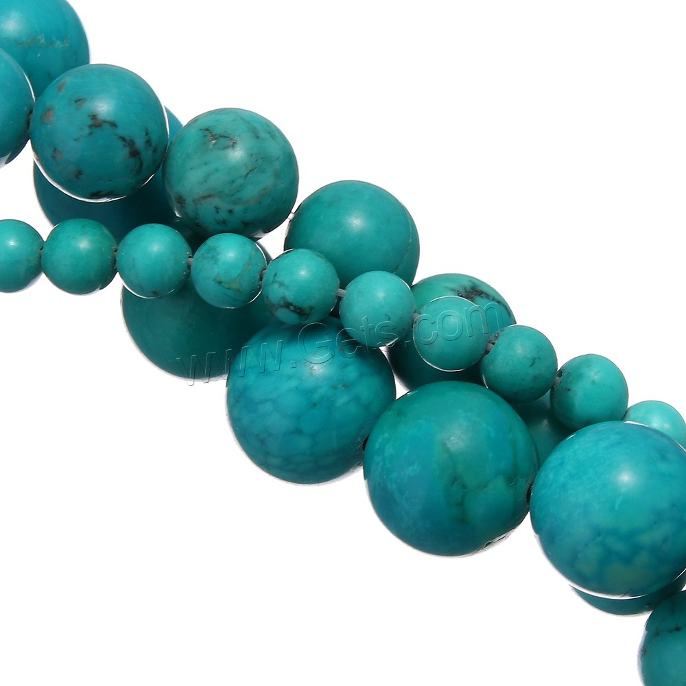 Natural Sinkiang Turquoise Beads, Round, more sizes for choice, blue, Hole:Approx 1-1.5mm, Length:Approx 15 Inch, Sold By Strand