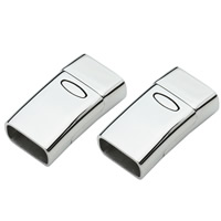 Stainless Steel Magnetic Clasp, Rectangle, original color, Hole:Approx 6x13.5mm, Sold By PC