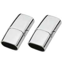 Stainless Steel Magnetic Clasp, Rectangle, original color, Hole:Approx 6x12mm, Sold By PC