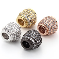 Cubic Zirconia Micro Pave Brass European Bead, Heart, plated, micro pave cubic zirconia & without troll, more colors for choice, nickel, lead & cadmium free, 10x9mm, Hole:Approx 4mm, 2PCs/Bag, Sold By Bag