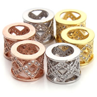 Cubic Zirconia Micro Pave Brass Beads, Drum, plated, micro pave cubic zirconia & large hole & hollow, more colors for choice, nickel, lead & cadmium free, 10x8mm, Hole:Approx 6mm, 2PCs/Bag, Sold By Bag