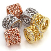 Cubic Zirconia Micro Pave Brass Beads, Drum, plated, micro pave cubic zirconia & large hole & hollow, more colors for choice, nickel, lead & cadmium free, 11x10mm, Hole:Approx 7mm, 2PCs/Bag, Sold By Bag
