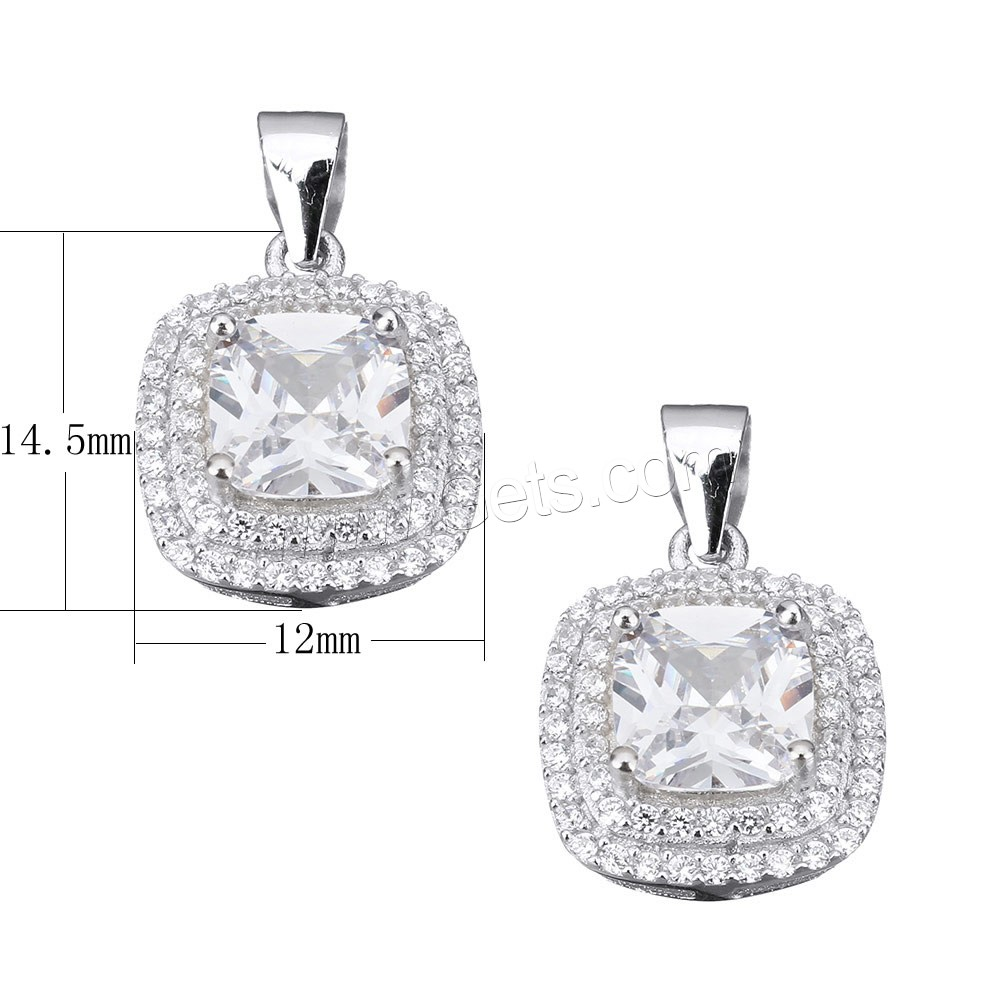 Cubic Zirconia Micro Pave Sterling Silver Pendant, 925 Sterling Silver, Square, micro pave cubic zirconia & faceted, 12x14.5x6.5mm, Hole:Approx 3.5x4.5mm, Sold By PC