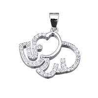 Cubic Zirconia Micro Pave Sterling Silver Pendant, 925 Sterling Silver, Elephant, micro pave cubic zirconia, 20.5x18.5x3mm, Hole:Approx 3.5x4.5mm, Sold By PC