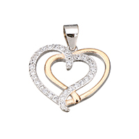 Cubic Zirconia Micro Pave Sterling Silver Pendant, 925 Sterling Silver, Heart, plated, micro pave cubic zirconia & two tone, 18x16x3mm, Hole:Approx 3.5x4.5mm, Sold By PC