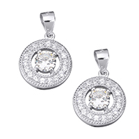 Cubic Zirconia Micro Pave Sterling Silver Pendant, 925 Sterling Silver, Flat Round, micro pave cubic zirconia & faceted, 12.5x15x3.5mm, Hole:Approx 3.5x4.5mm, Sold By PC