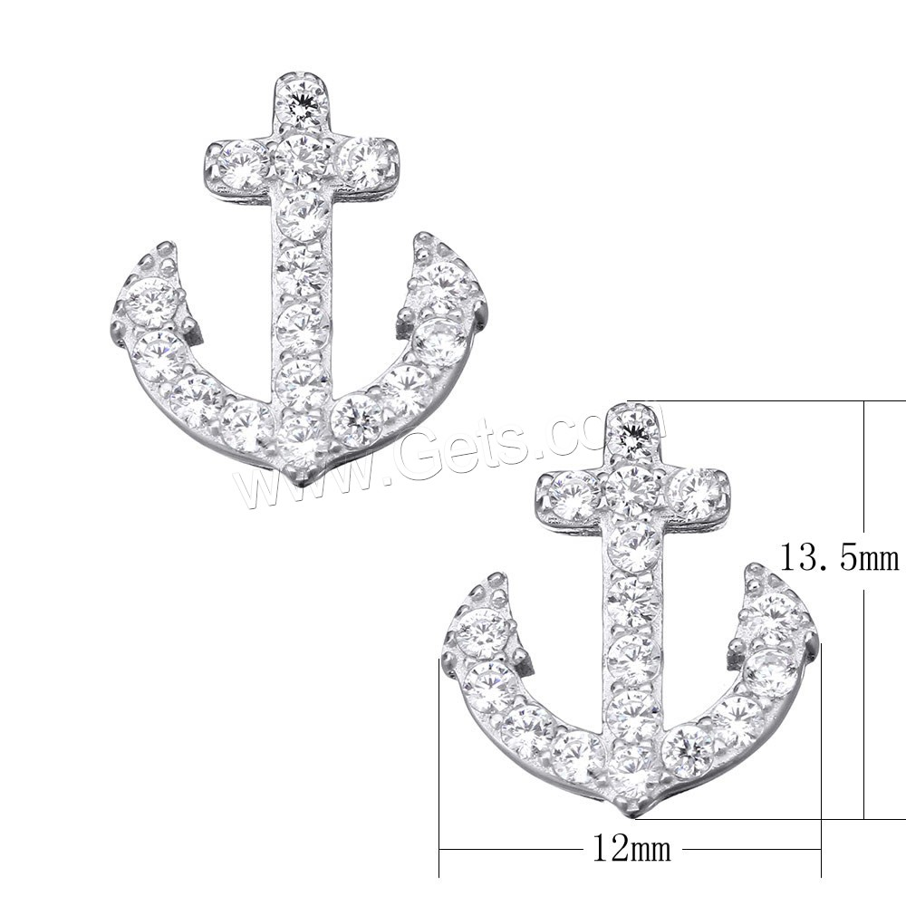Cubic Zirconia Micro Pave Sterling Silver Pendant, 925 Sterling Silver, Anchor, micro pave cubic zirconia, 12x13.5x4.5mm, Hole:Approx 3.5x1.5mm, Sold By PC