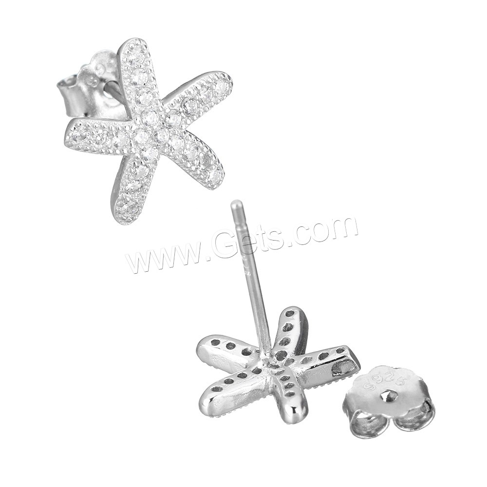 Cubic Zirconia Micro Pave Sterling Silver Earring, 925 Sterling Silver, Starfish, micro pave cubic zirconia, 10.5x10x13mm, Sold By Pair