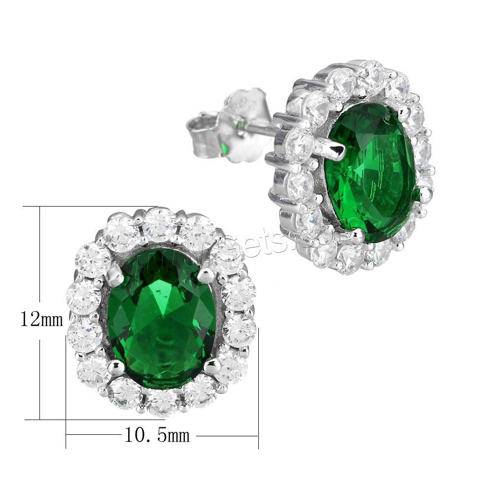 Cubic Zirconia Micro Pave Sterling Silver Earring, 925 Sterling Silver, Flat Oval, micro pave cubic zirconia & faceted, 10.5x12x16.5mm, Sold By Pair