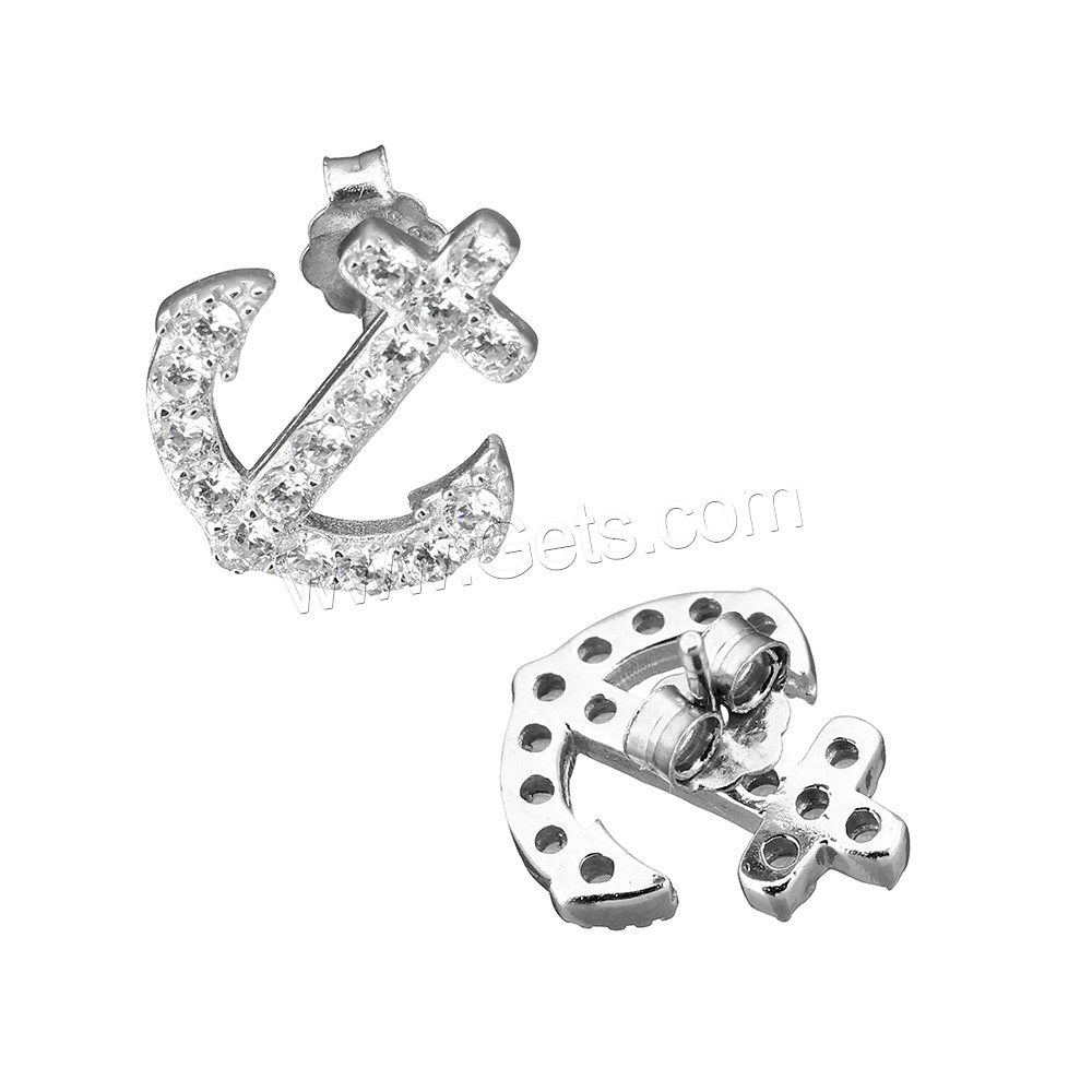 Coconut Pendants, 925 Sterling Silver, Anchor, micro pave cubic zirconia, 12.5x14x13mm, Sold By Pair