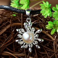 Cultured Pearl Sterling Silver Pendants, 925 Sterling Silver, with Freshwater Pearl, Flower, real silver plated, natural, 20x24mm, Hole:Approx 1-2mm, Sold By PC