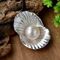 Cultured Pearl Sterling Silver Pendants, 925 Sterling Silver, with Freshwater Pearl, Flower, real silver plated, natural, 35x24mm, Hole:Approx 1-2mm, Sold By PC