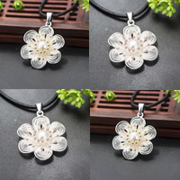 Cultured Pearl Sterling Silver Pendants, 925 Sterling Silver, with Freshwater Pearl, Flower, plated, natural, more colors for choice, 26x36mm, Hole:Approx 1-2mm, Sold By PC