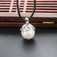 Cultured Pearl Sterling Silver Pendants, 925 Sterling Silver, with Freshwater Pearl, real silver plated, natural, 14x25mm, Hole:Approx 1-2mm, Sold By PC
