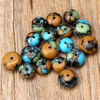 Mosaic Turquoise Beads, Drum, different size for choice, Hole:Approx 1mm, Sold By PC