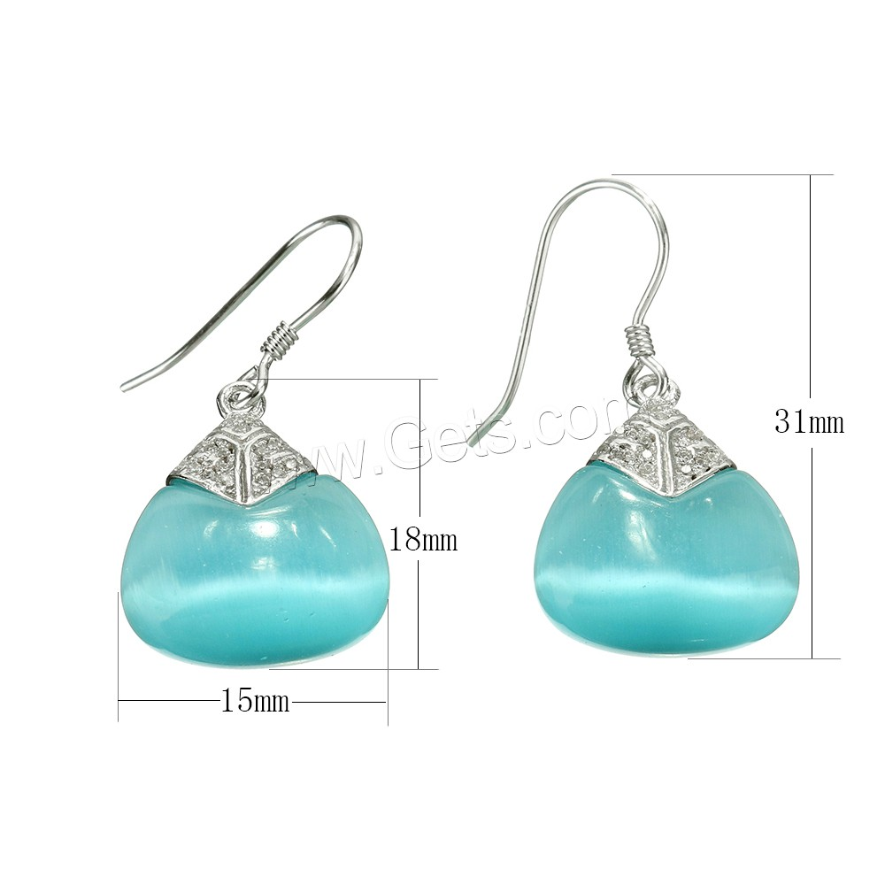 Cubic Zirconia Micro Pave Sterling Silver Earring, 925 Sterling Silver, with Cats Eye, micro pave cubic zirconia, blue, 31mm, 15x18x7.5mm, Sold By Pair
