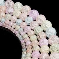 Crackle Glass Beads, Round, different size for choice, mixed colors, Hole:Approx 1mm, Sold By Strand