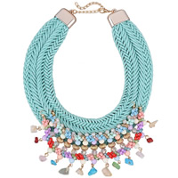 Fashion Statement Necklace, Nylon Cord, with Crystal & Glass Seed Beads & Zinc Alloy, with 3.3lnch extender chain, gold color plated, for woman & faceted, 80mm, Length:Approx 18.9 Inch, Sold By Strand