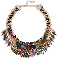 Fashion Statement Necklace, Zinc Alloy, with Nylon Cord & Glass Seed Beads & Acrylic, with 3.9lnch extender chain, gold color plated, imitation crystal & for woman & faceted, 60mm, Length:Approx 18.1 Inch, Sold By Strand