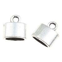 Zinc Alloy End Cap, Rectangle, antique silver color plated, lead & cadmium free, 10x12x5mm, Hole:Approx 3mm, 100G/Bag, Sold By Bag