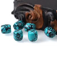 Natural Turquoise Beads, Drum, blue, 12x12mm, Hole:Approx 1mm, Sold By PC