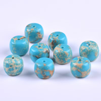 Natural Turquoise Beads, Drum, blue, 11x9mm, Hole:Approx 1mm, Sold By PC