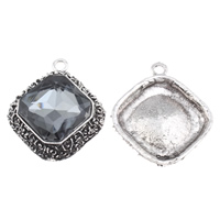Crystal Zinc Alloy Pendants, with Crystal, Rhombus, antique silver color plated, faceted, lead & cadmium free, 38x43x11mm, Hole:Approx 4mm, Sold By PC