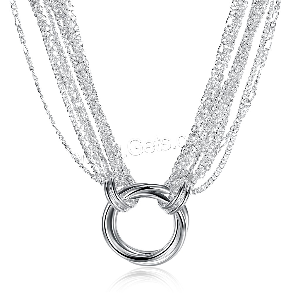 comeon® Jewelry Necklace, Brass, silver color plated, twist oval chain & for woman & multi-strand, 33x29mm, Length:Approx 18 Inch, Sold By Strand