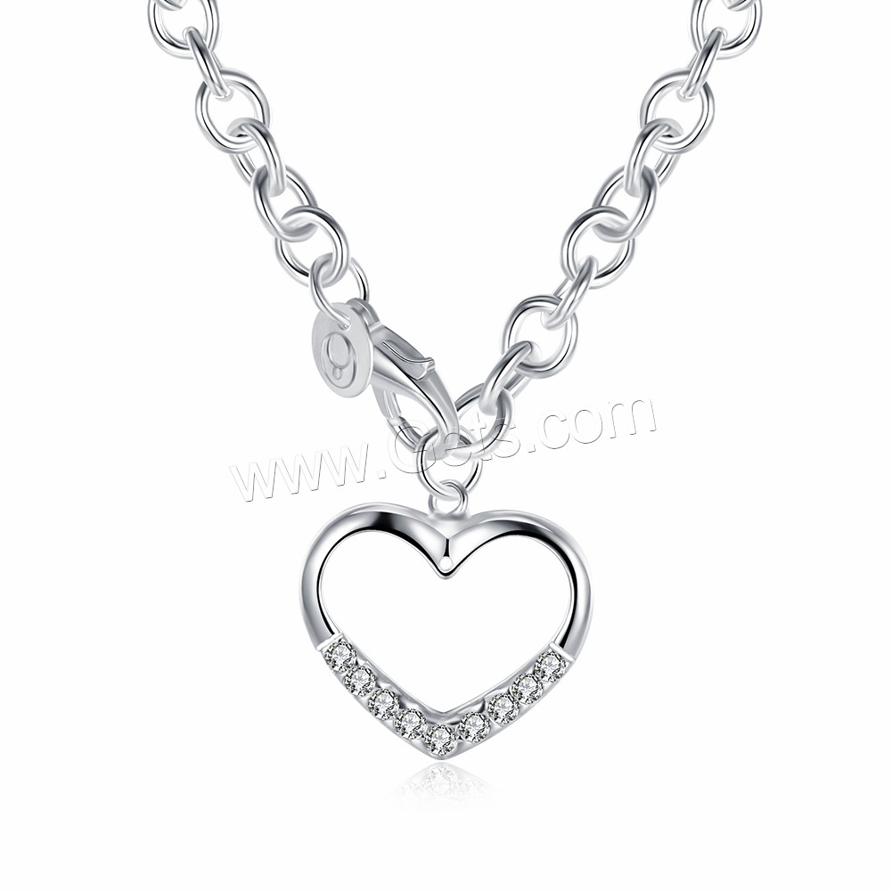 comeon® Jewelry Necklace, Brass, Heart, silver color plated, oval chain & for woman & with cubic zirconia, 24x24mm, Length:Approx 18 Inch, Sold By Strand