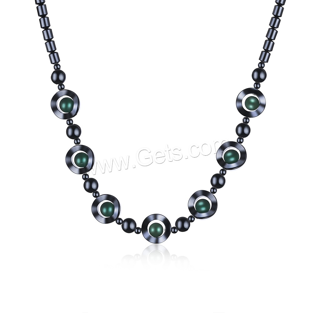 comeon® Jewelry Necklace, Non Magnetic Hematite, with Green Aventurine & Zinc Alloy, with 1.9lnch extender chain, platinum color plated, natural & for woman, 12mm, Length:Approx 17.7 Inch, Sold By Strand