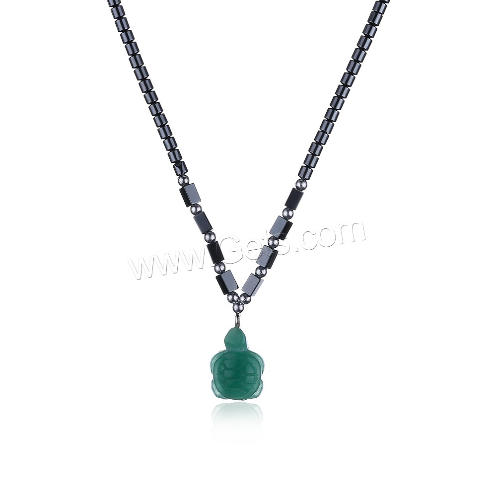 comeon® Jewelry Necklace, Non Magnetic Hematite, with Green Aventurine & Zinc Alloy, Turtle, platinum color plated, natural & for woman, 12x22mm, Length:Approx 17.7 Inch, Sold By Strand
