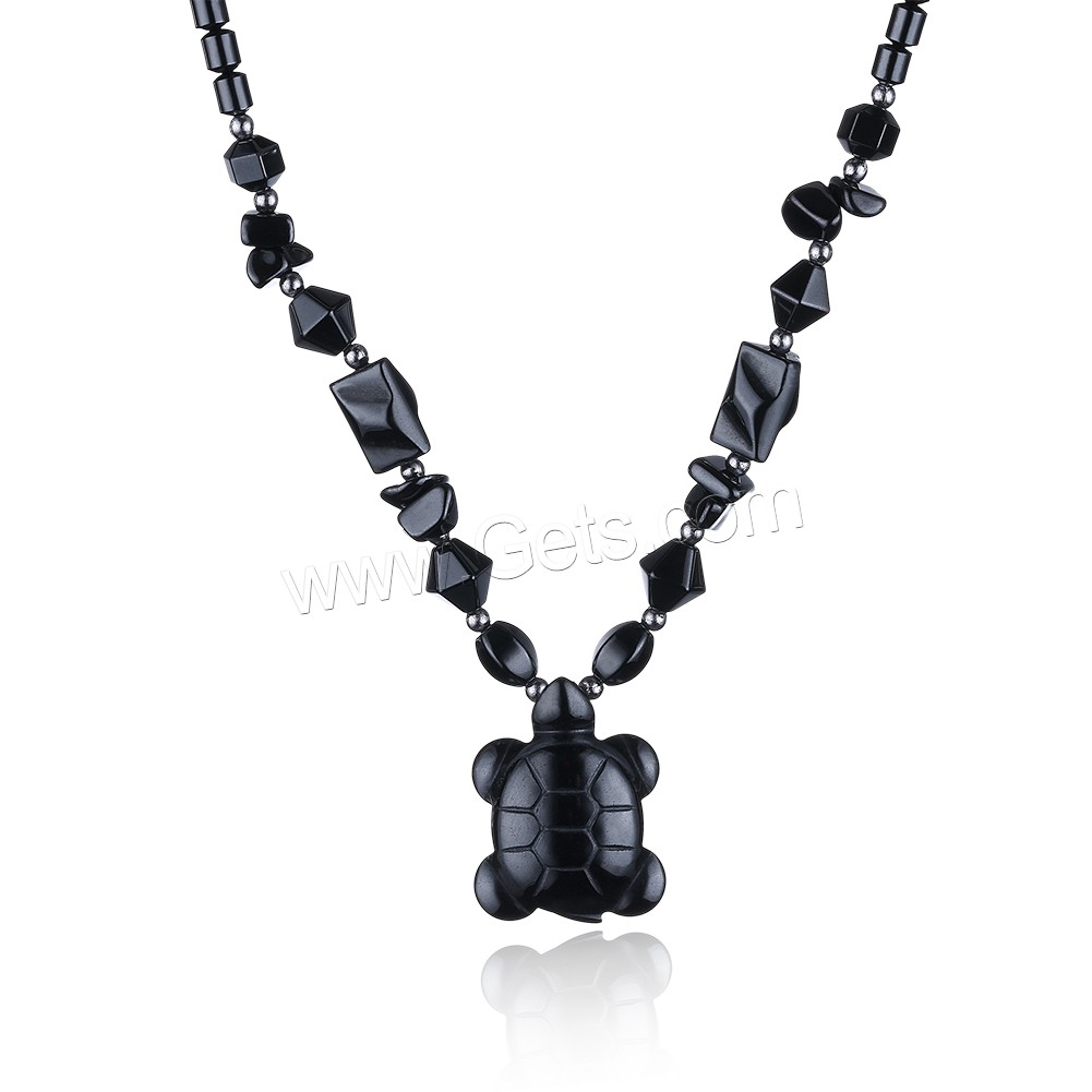 comeon® Jewelry Necklace, Non Magnetic Hematite, with Black Agate & Zinc Alloy, Turtle, platinum color plated, natural & for woman, 22x29mm, Length:Approx 17.7 Inch, Sold By Strand